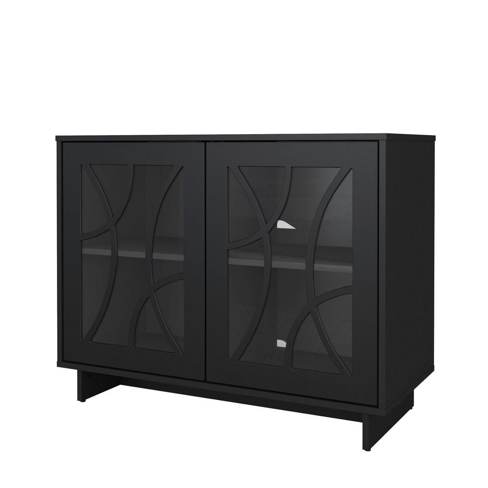 39 34 Curved Linear Design Paragon 2 Door Storage Cabinet Black Nexera
