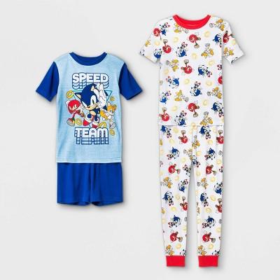 Boys' Sonic 'Speed Team' 4pc Pajama Set - Blue/White