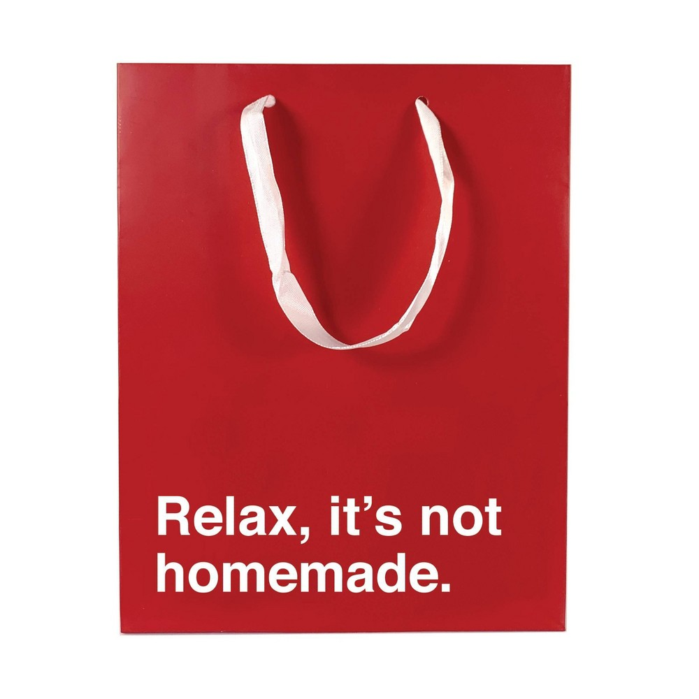 """Image of """"Medium """"""""Relax, it's not homemade"""""""" Gift Bag Red"""""""