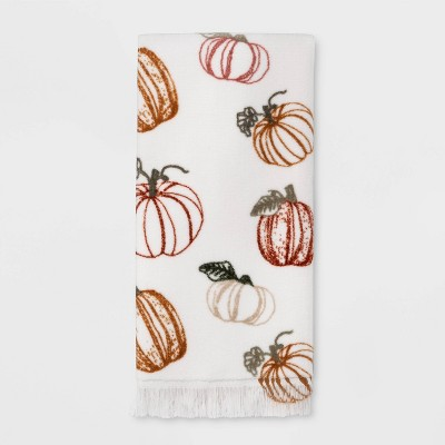 Harvest Tossed Pumpkin Print Hand Towel White - Threshold™