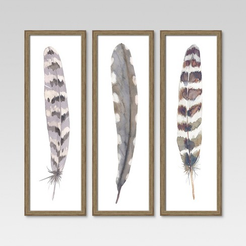 12x36 Framed 3pk Feathers Threshold Target