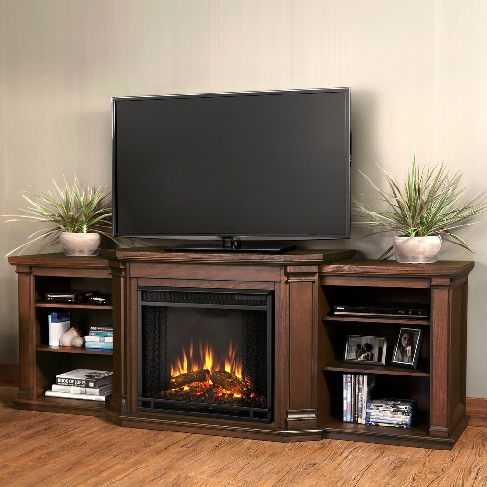Real Flame - Valmont Electric TV-Media Fireplace-Chestnut Oak, Chestnut Oak