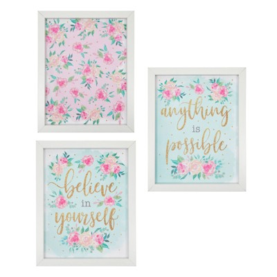 Juvale 3 Pack Floral Home Wall Decor for Girls Bedroom, Framed Art with Quotes (10 x 8 In)