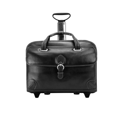 """Siamod Carugetto 15"""" Leather Patented Detachable Wheeled Laptop Bag - Black"""