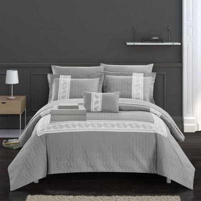 Chic Home Borrego Hexagon Embosse Decorative Comforter Sheet Pillow & Shams Set - Grey