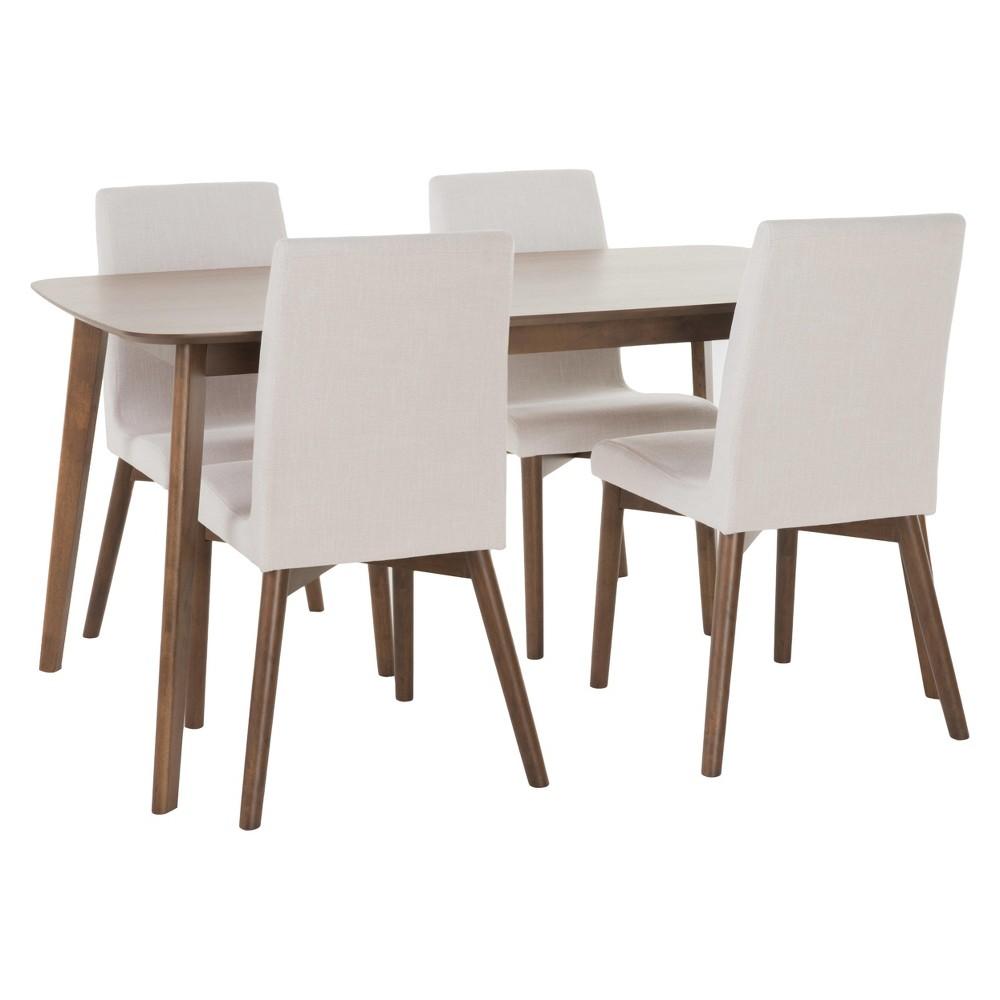 Orrin 60 5pc Dining Set - Light Beige/Nat Walnut - Christopher Knight Home