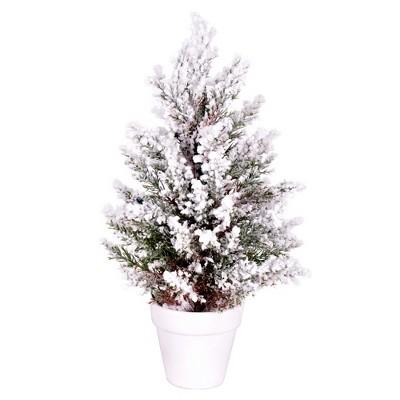 "Vickerman 14"" x 7"" Flocked Covington Artificial Christmas Tree, Unlit"
