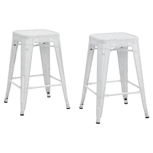 """Nova 24"""" Metal Mesh Backless Counter Stool (Set of 2) - White - Dorel Home Products - image 1 of 4"""