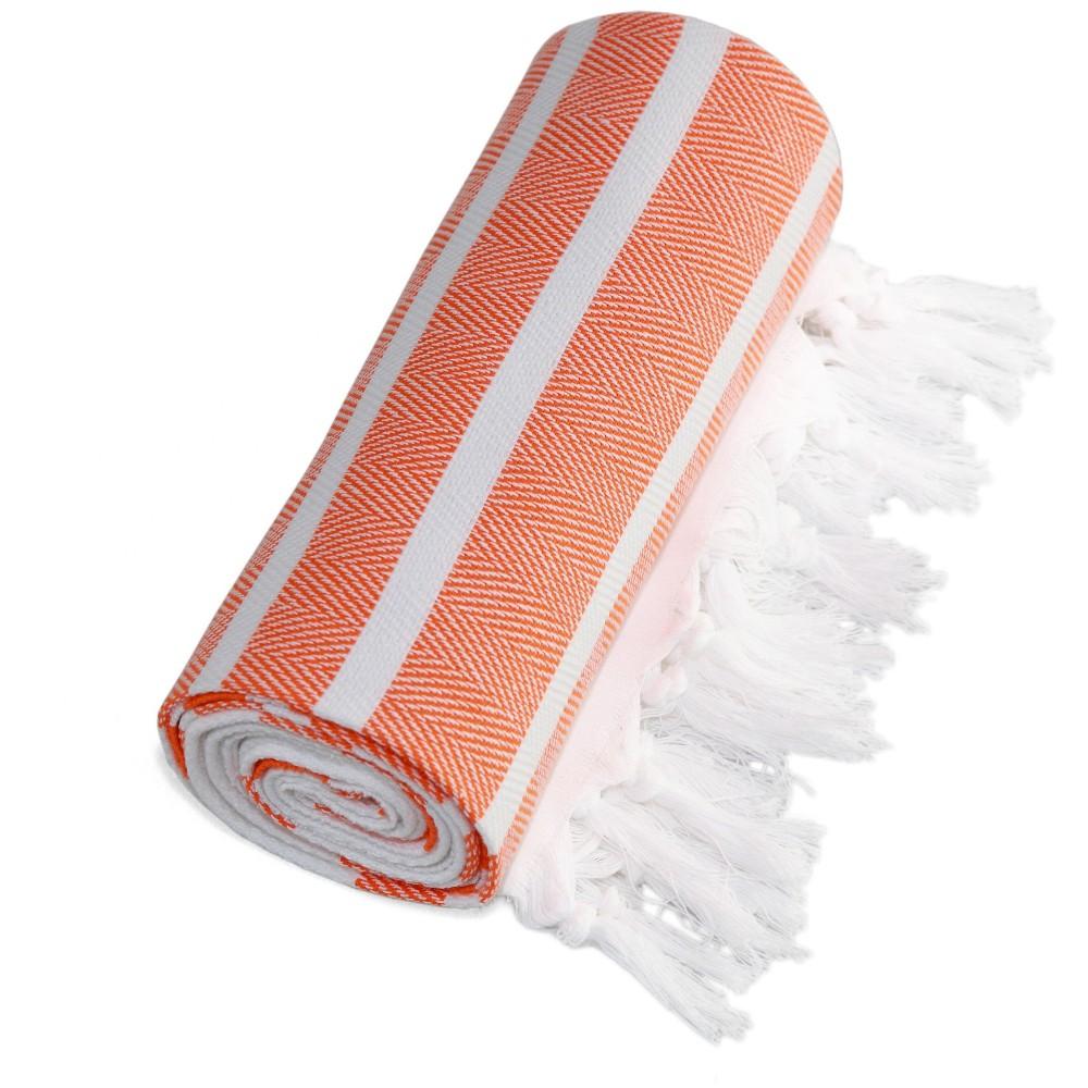 Image of Herringbone Pesetemal Beach Towel Orange