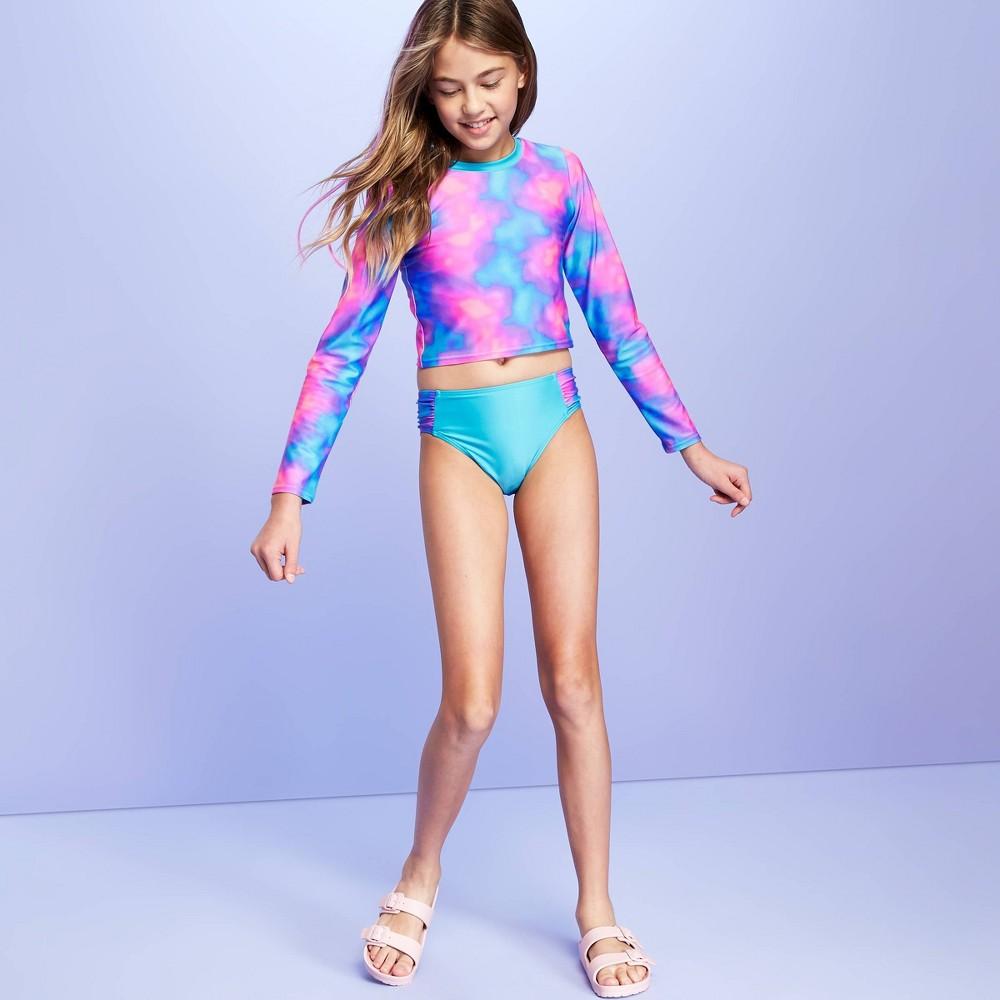 Image of Girls' Tie-Dye Bikini Swimsuit and Long Sleeve Crop Top Rashguard Swim Shirt Set - More Than Magic Blue XL, Girl's