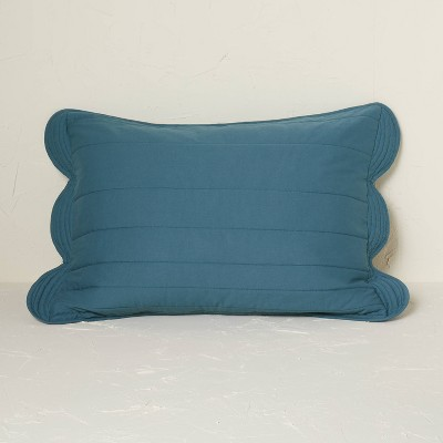 Standard Scalloped Edge Quilt Sham Teal - Opalhouse™ designed with Jungalow™