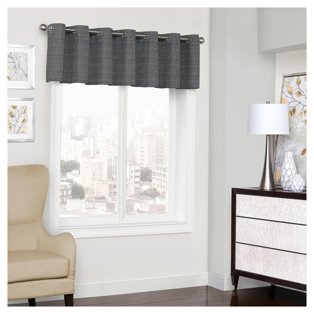 "Trevi Thermalined Window Valance Black (52""x18"") - Eclipse"