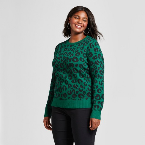 9083923ad3 Women's Plus Size Pullover Sweater - A New Day™ Green Animal Print 1X