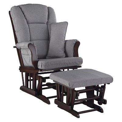 Stork Craft Tuscany Espresso Glider and Ottoman - Slate Gray Swirl
