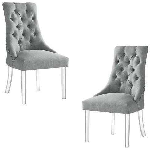 Colton Grey Linen Dining Chair - Set of 2 - Armless - Acrylic Legs in Gray - Posh Living - image 1 of 3