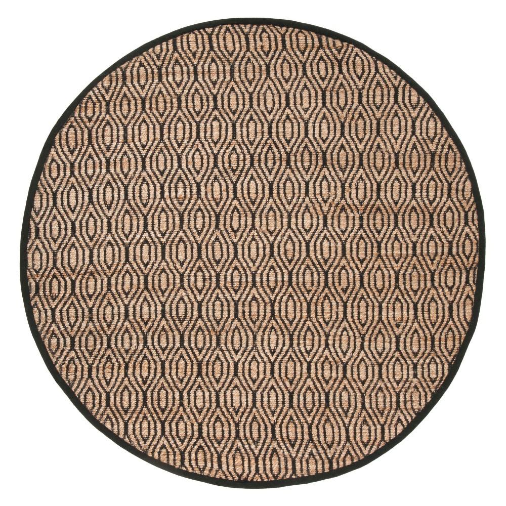 6' Geometric Round Area Rug Black/Natural - Safavieh