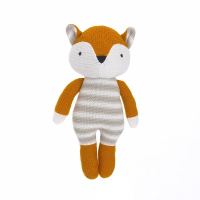 NoJo Cuddle Me Orange/White Fox Knitted Plush Toy - Tobey