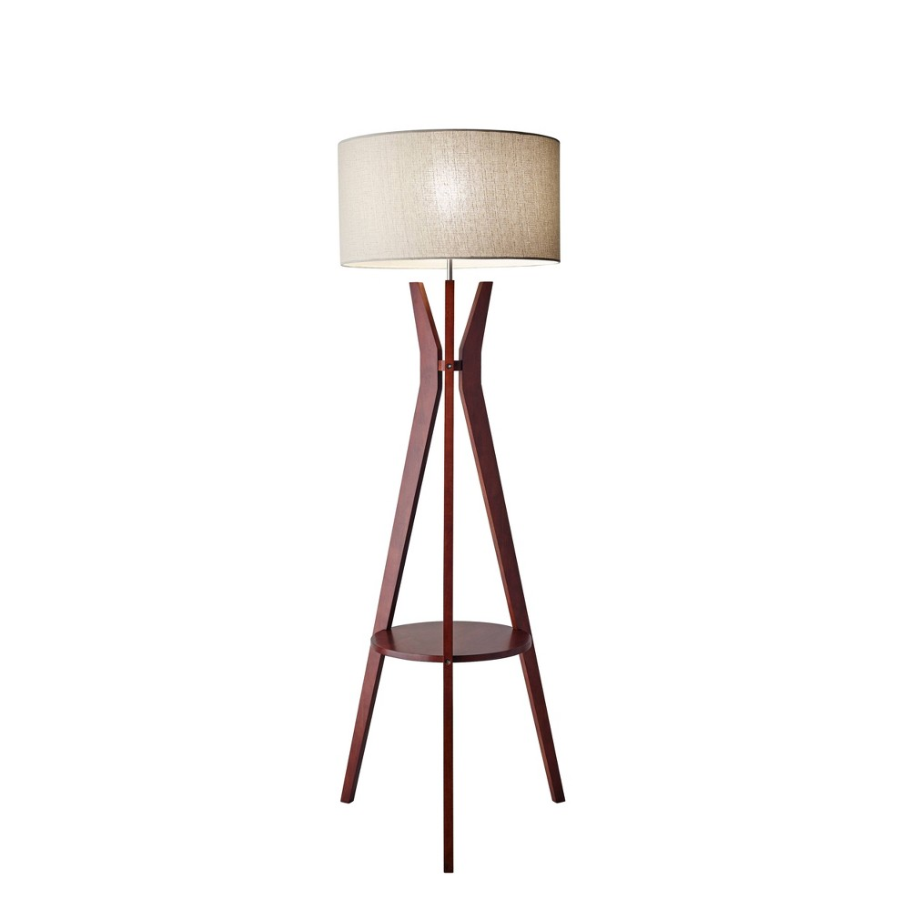 Image of 3-way Bedford Shelf Floor Lamp Brown - Adesso