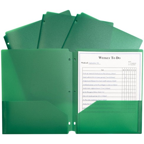 C-Line Poly Portfolio Folders with 3-Hole Punch, Letter, 2-Pocket, Green, pk of 25 - image 1 of 1