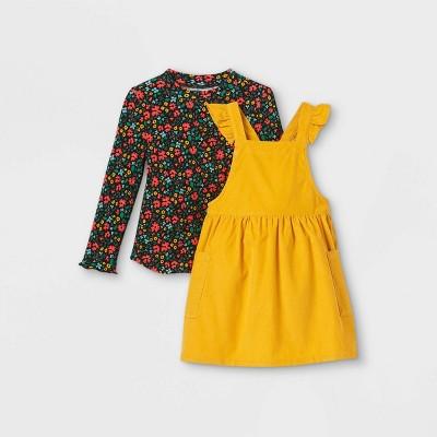 Toddler Girls' Floral Mock Neck Long Sleeve Top & Corduroy Skirtall Set - Cat & Jack™ Mustard Yellow