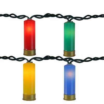 Northlight Set of 10 Multi-Color Shotgun Shell Novelty Christmas Lights - 7.5 ft Green Wire