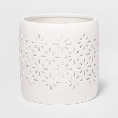 "5.2"" x 5.1"" Matte Ceramic Starburst Candle Holder Sleeve White - Threshold™"