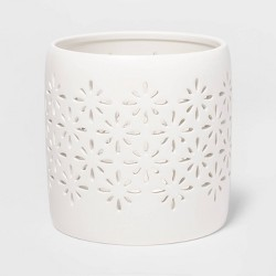 "5.2"" x 5.1"" Matte Ceramic Starburst Candle Holder Sleeve White - Threshold™"