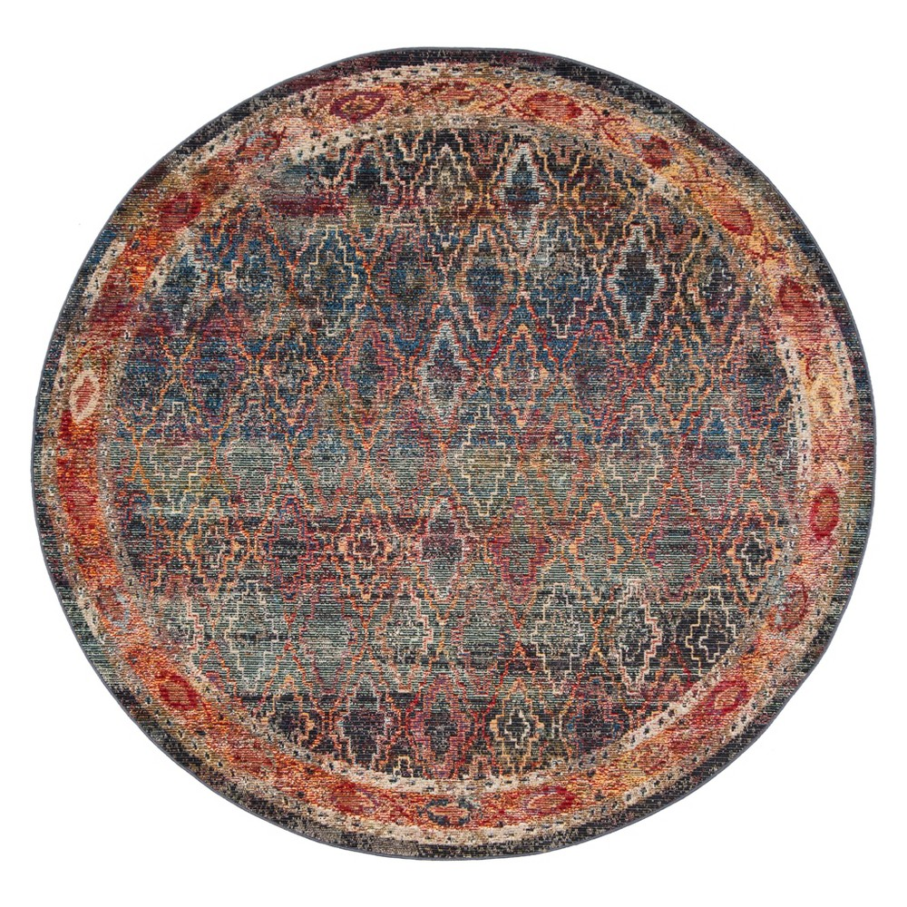 7'x7' Tribal Design Loomed Round Area Rug Navy/Gold (Blue/Gold) - Safavieh