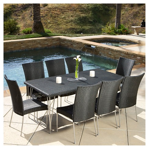 Fairfield 9pc Wicker Dining Set - Black - Christopher Knight Home - image 1 of 4