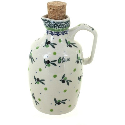 Blue Rose Polish Pottery Mission Olive Oil/Vinegar Container with Cork