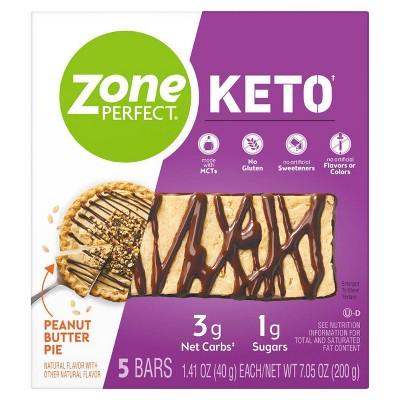 Zone Perfect Keto Peanut Butter Pie Bar - 5pk/7.05oz