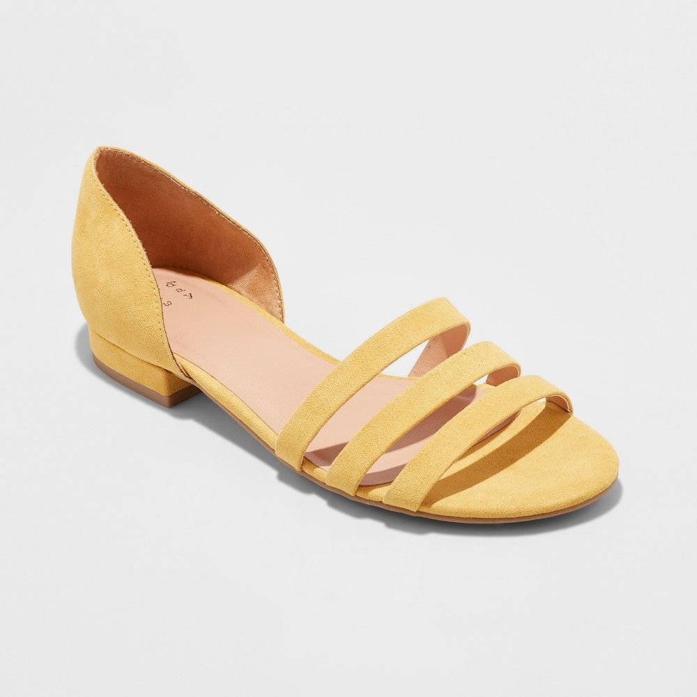 Women's Vienna Open Toe Strappy Slide Sandals - A New Day Yellow 11