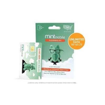 Mint Mobile 3 Month Unlimited Plan Sim Kit