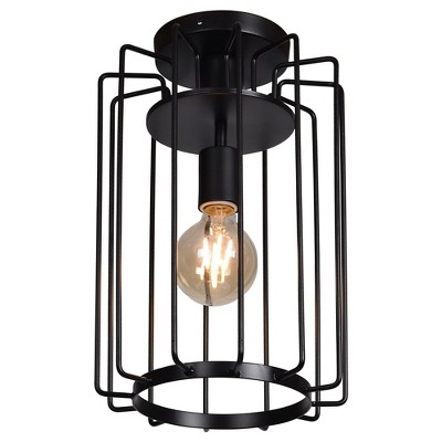 Access Lighting Wired Vertical Cage Flush Mount Shade Ceiling Lights Black