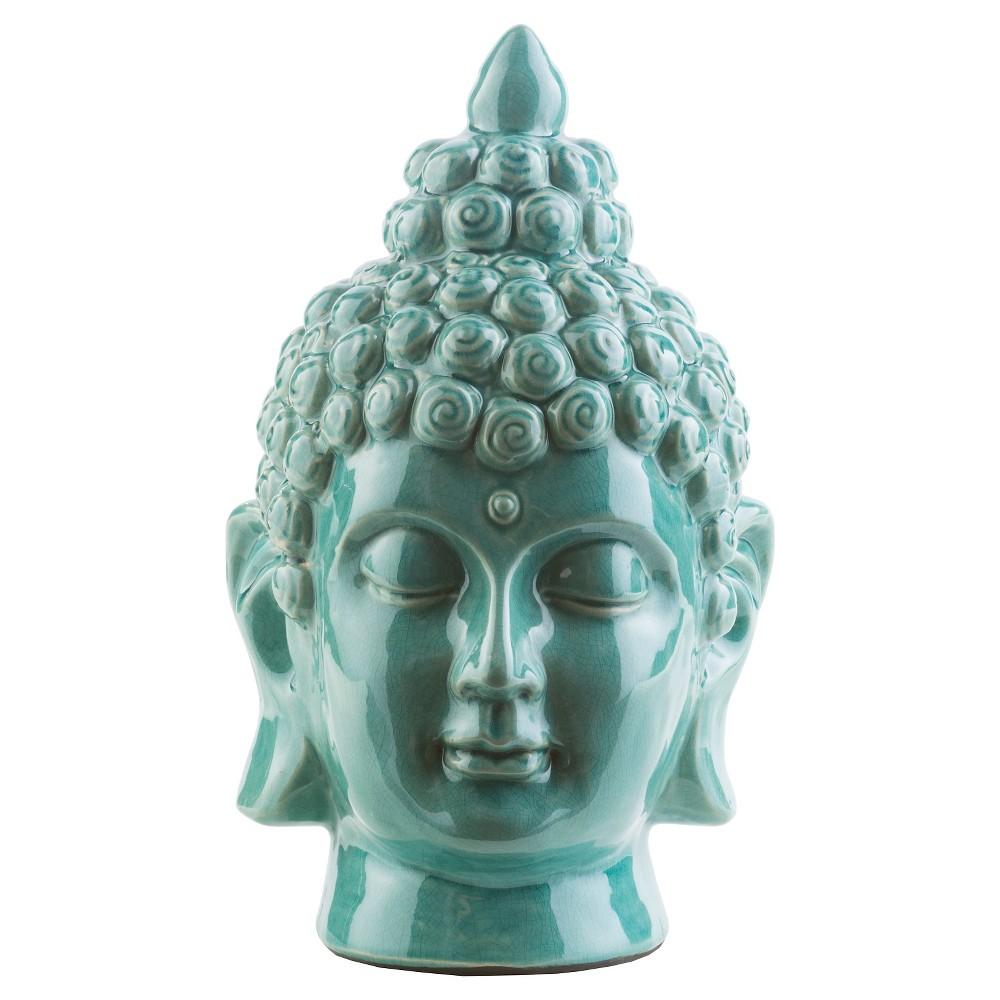 Surya Tonya 7.9 Ceramic Outdoor Buddha Statuary - Teal (Blue)