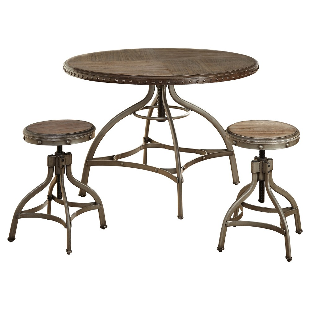 3pc Adjustable Height Dining Set Pewter Silver Buylateral