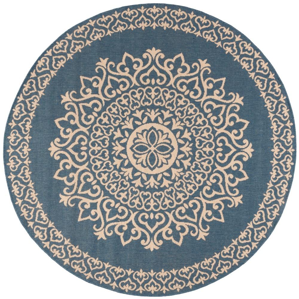 6'7 Medallion Loomed Round Area Rug Cream/Blue (Ivory/Blue) - Safavieh