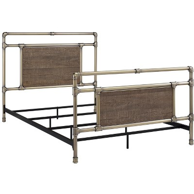 Glenwillow Home Exmore Metal Bed in Matte Black or Antique Brass