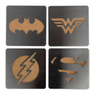 Seven20 DC Comics Laser-Cut Superhero Logo Coaster Set | Batman | Superman | Wonder Woman | Flash