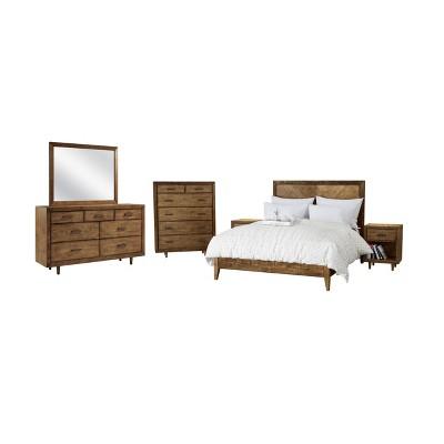 6pc Aurora Mid Century Queen Bedroom Set Brown - Abbyson Living
