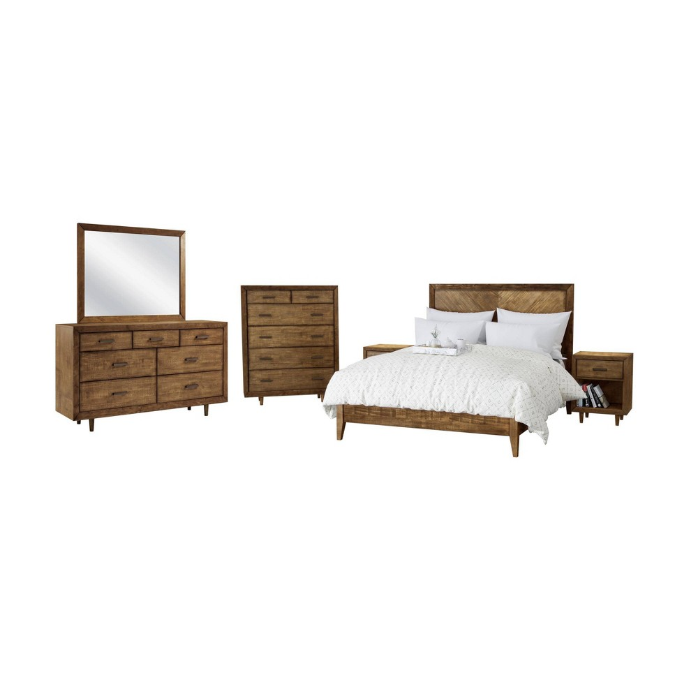 Image of 6pc Aurora Mid Century Queen Bedroom Set Brown - Abbyson Living