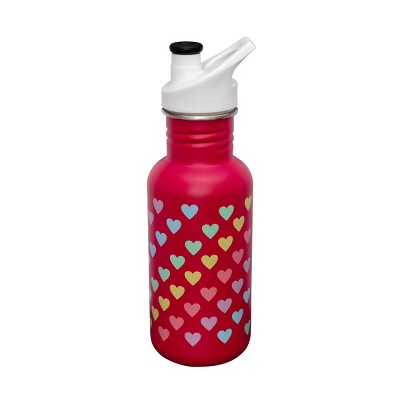 Klean Kanteen 18oz Classic Jazzy Rainbow Hearts Stainless Steel Water Bottle with Sports Cap - Pink