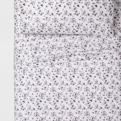 Twin XL 100% Cotton Printed Pattern Sheet Set Purple Floral - Threshold™