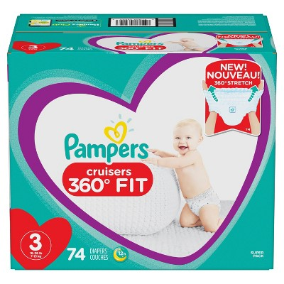 Pampers Cruisers 360 Disposable Diapers Super Pack - Size 3 (74ct)
