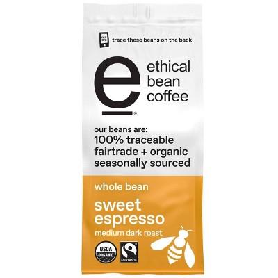 Ethical Bean Coffee Sweet Espresso Medium Dark Roast Whole Bean Coffee - 12oz
