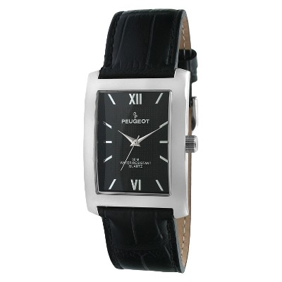 Men's Peugeot Leather Strap Watch - Black