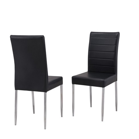 Kingston Dining Chair Set of 2 Black/ Chrome - Carolina Chair and Table - image 1 of 4