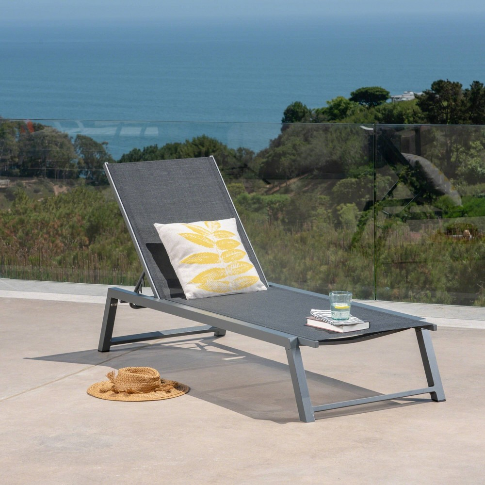 Myers Aluminum Chaise Lounge - Gray/Black - Christopher Knight Home