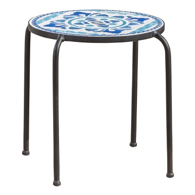 Skye Ceramic Tile Side Table - Blue/White - Christopher Knight Home
