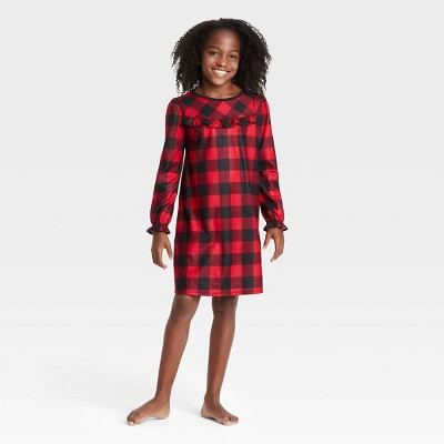 Kids' Holiday Buffalo Check Flannel Matching Family Pajamas NightGown - Wondershop™ Red